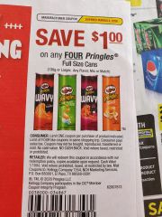10 Coupons $1/4 Pringles Full Size Cans (130g+) Exp.3/8/20