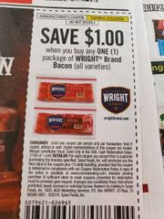 10 Coupons $1/1 Wright Brand Bacon Exp.2/23/20