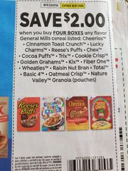 10 Coupons $2/4 General Mills Cereals Listed (See Pic) Exp.3/7/20