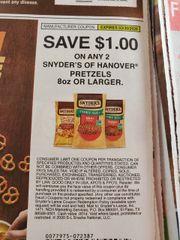 10 Coupons $1/2 Snyder's of Hanover Pretzels 8oz+ Exp.3/30/20