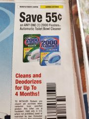 10 Coupons $.55/1 2000 Flushes Automatic Toilet Bowl Cleaner Exp.4/27/20