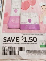 10 Coupons $1.50/2 Summer's Eve External Products Exp.3/14/20
