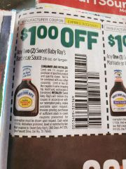 10 Coupons $1/2 Sweet Baby Ray's Barbecue Sauce 28oz+Exp.2/23/20