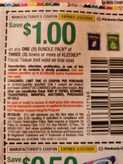 10 Coupons $1/1 Kleenex Facial Tissues Bundle Pack or (3) Boxes Exp.2/22/20