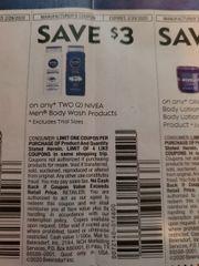 10 Coupons $3/2 Nivea Men Body Wash PRoducts Exp.2/29/20