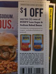 10 Coupons $1/2 Bush's Less Sugar & Sodium Baked Beans (Includes Two Varieties Pictured on Coupon, Excludes All Products Not Pictured) Exp.3/1/20