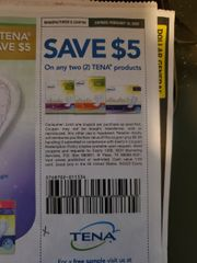 10 Coupons $5/2 Tena Products Exp.2/16/20