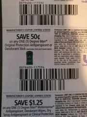 10 Coupons $.50/1 Degree Men Original Protection Antiperspirant or Deodorant Stick Exp.2/29/20