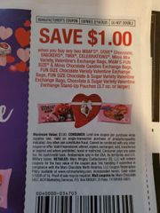 10 Coupons $1/2 M&M's, Dove Chocolate, Snickers, Twix, Celebrations, Minis mix Variety, Valentine's Exchange Bags, M&M's Fun Size & Minis Chocolate Candies Exchange Bags(3.7oz+) Exp.2/14/20