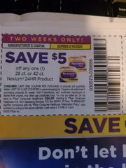 10 Coupons $5/1 Nexium 25HR Product 28ct or 42ct Exp.2/16/20