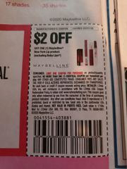 10 Coupons $2/1 Maybelline New York Lip Product (Excluding Baby Lips) Exp.3/7/20
