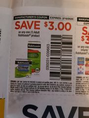 10 Coupons $3/1 Adult Robitussin Product Exp.2/16/20