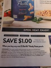 10 Coupons $1/1 Barilla Ready Pasta Pouch Exp.4/5/20