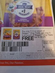 10 Coupons BOGO Beggin Dog Treats 6oz Pouch (Up To $3.29) Exp.4/9/20