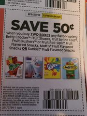 10 Coupons $.50/2 Betty Crocker Fruit Shapes, Fruit by the Foot, Fruit Gushers or Fruit Roll-Ups Fruit Flavored Snacks, Mott's Fruit Flavored Snacks or Sunkist Fruit Flavored Snacks Exp.4/4/20
