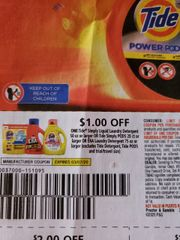 10 Coupons $1/1 Tide Simply Liquid Laundry Detergent 50oz+ Or Tide Simply Pods 20ct+ Or Era Laundry Detergent 75oz+ (Excludes Tide Detergent, Tide Pods) Exp.3/7/20