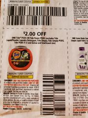 10 Coupons $2/1 Tide Pods or Tide Power Pods (Excludes Tide Liquid/Powder Laundry Detergent, Tide Simply, Tide Simply Pods, Tide Pos 9ct or Less) Exp.2/22/20