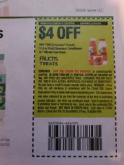 10 Coupons $4/2 Garnier Fructis 11.8oz Treat Shampoo, Conditioner or 1 Minute Hair Mask Exp.2/29/20