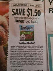 10 Coupons $1.50/1 Nudges Dog Treats 10oz+ Exp.5/15/20