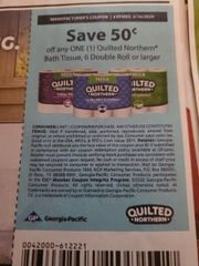 10 Coupons $.50/1 Quilted Northern Bath Tissue 6 Double Roll+ Exp.3/16/20