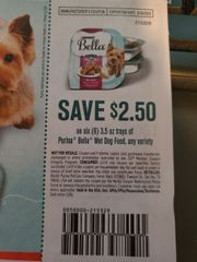 10 Coupons $2.50/6 Purina Bella Wet Dog Food Trays 3.5oz Exp.3/16/20