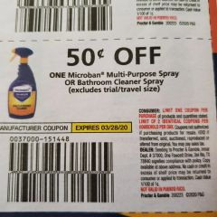 10 Coupons $.50/1 Microban Multi-Purpose Spray or Bathroom Cleaner Spray Exp.3/28/20