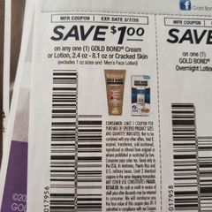 10 Coupons $1/1 Gold Bond Cream or Lotion 2.4oz-8.1oz or Cracked Skin (Excludes 1oz Sizes and Men's Face Lotion) Exp.3/7/20