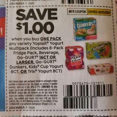 10 Coupons $1/1 Yopliat Yogurt Multipack (Includes 8-Pack Fridge Pack, Beverage, Go-Gurt 16ct+, Go-Gurt Dunkers, Kids Cup Yogurt 8ct, or Trix Yogurt 8ct) Exp.4/25/20