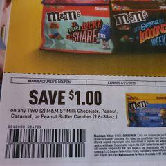 10 Coupons $1/2 M&M's Milk Chocolate, Peanut, Caramel Or Peanut Butter Candies (9.6-38oz) Exp.4/27/20