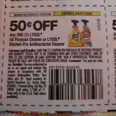 10 Coupons $.50/1 Lysol All Purpose Cleaner or Lysol Kitchen Pro Antibacterial Cleaner Exp.4/7/20