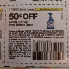 10 Coupons $.50/1 Lysol Power Bathroom Cleaner Exp.4/7/20
