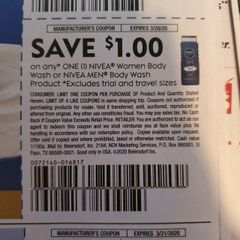 10 Coupons $1/1 Nivea Women Body Wash or Nivea Men Body Wash Products Exp.3/28/20