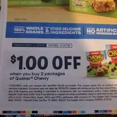 10 Coupons $1/2 Quaker Chewy Exp.4/19/20