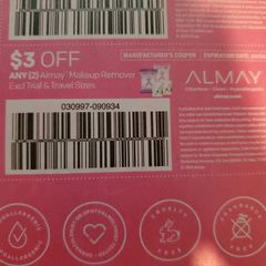 10 Coupons $3/2 Almay Makeup Remover Exp.4/4/20