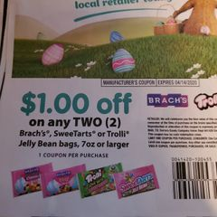 10 Coupons $1/2 Brach's. Sweetarts or Trolli Jelly Bean Bags 7oz+ Exp.4/14/20
