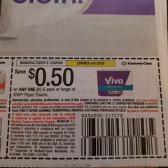 10 Coupons $.50/1 Viva Paper Towels 6-Pack+ Exp.4/4/20