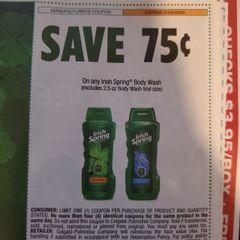 10 Coupons $.75/1 Irish SPring Body Wash (Excludes 2.5oz Body Wash) Exp.3/29/20
