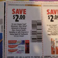 10 Coupons $2/1 Colgate Total Advanced, Optic White Advanced or Renewal, Zero, Enamel Health, Sensitive or w/ Charcoal or Hemp Seed Oil Toothpaste (3.0oz) Exp.3/28/20