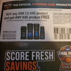 10 Coupons BOGO AXE Product (Up To $4.99) (Excludes Hair Styling Products and Twin Packs) Exp.3/29/20