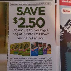 10 Coupons $2.50/1 Purina Cat Chow Dry Cat Food 12lb+ Exp.9/26/20
