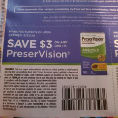 10 Coupons $3/1 PreserVision Exp.5/31/20