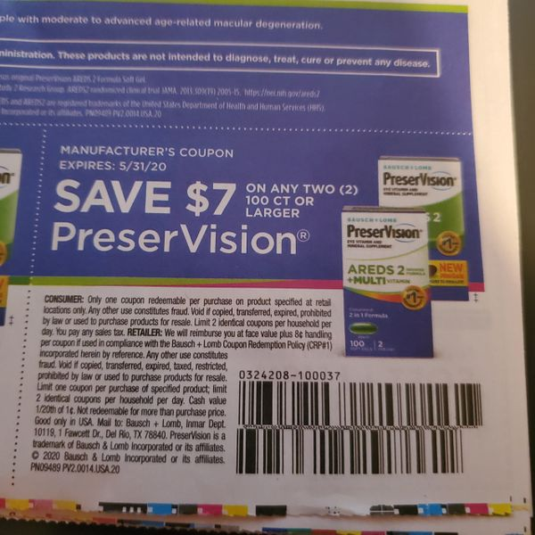 10 Coupons $7/2 PreserVision 100ct+ Exp.5/31/20