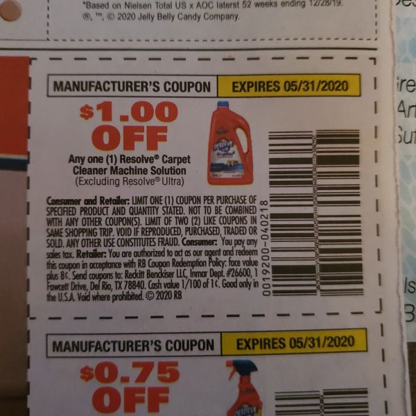 10 Coupons $1/1 Resolve Carpet Cleaner Machine Solution (Excluding Resolve Extra) Exp.5/31/20