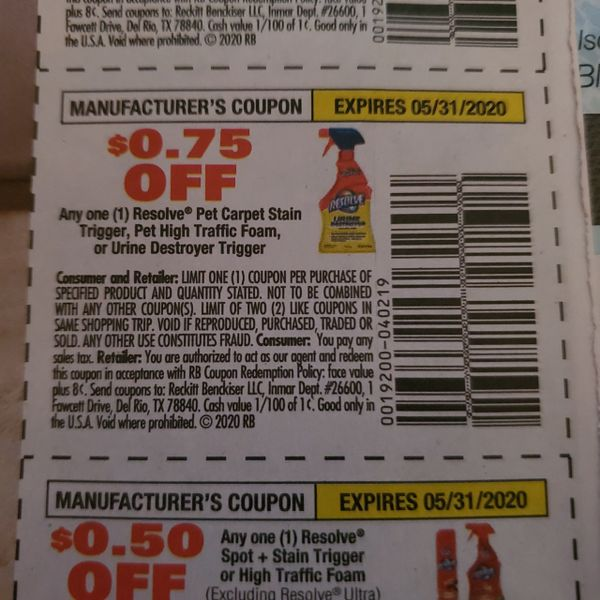 10 Coupons $.75/1 Resolve Pet Carpet Stain Trigger, Pet High Traffic Foam, or Urine Destroyer Trigger Exp.5/31/20