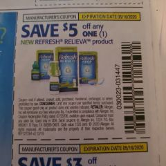 10 Coupons $5/1 Refresh Relieva Product Exp.5/16/20