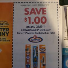 10 Coupons $1/1 Arm & Hammer Spinbrush Battery-Powered Toothbrush or refill Exp.4/18/20