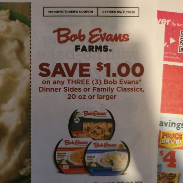 10 Coupons $1/3 Bob Evans Dinner Sides or Family Classics 20oz+ Exp.5/21/20