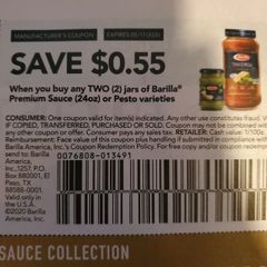 10 Coupons $.55/2 Barilla Premium Sauce (24oz) or Pesto Varieties Exp.5/17/20