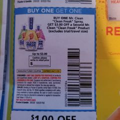 10 Coupons Buy (1) Mr. Clean Clean Freak Spray, Get $3 Off a Second Mr. Clean clean Freak Product Exp.4/11/20
