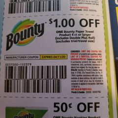 10 Coupons $1/1 Bounty Paper Towel Product 4ct+ (Includes Double Plus Roll) Exp.4/11/20